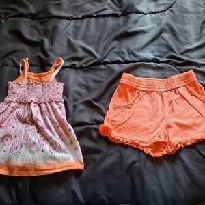 girls 6/7 pink/orange design tank& shorts